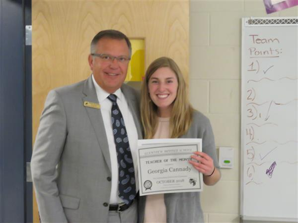 Congratulations to October's Teacher of the Month - Georgia Canady