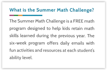 What is the Summer Math Challenge
