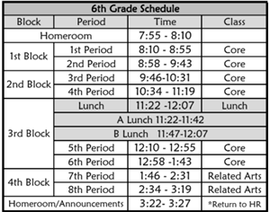 Bell Schedule for Monday, Tuesday, Thursday, and Friday