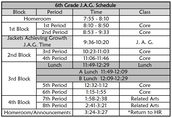 6th Grade JAG Schedule