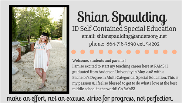 Shian Spaulding - ID Self-Contained Special Education